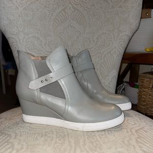Light Grey Leather Sneaker Wedges